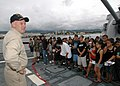 US Navy 061101-N-0879R-003 From the bow of the Pearl Harbor-based guided-missile destroyer USS Hopper (DDG 70), students from Aiea High School learn about the ship and the Navy's mission.jpg