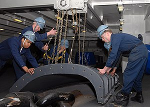 "Boatswain's mate (United States Navy) - Boatswain's mates prepare for an ""anchor drop test"" aboard the USS George H.W. Bush to check the operability of the ship's anchor."