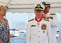 US Navy 090722-N-6138K-087 Adm. Mark Fitzgerald, commander, U.S. Naval Forces Europe-Commander, U.S. Naval Forces Africa, presents the Legion of Merit to Rear Adm. Charles J.jpg