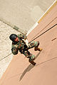 US Navy 091113-N-1906L-002 Explosive Ordnance Disposal Technician 2nd Class Mario Spencer rappels a tower during a basic fast rope certification.jpg