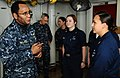 US Navy 100304-N-7508R-033 Vice Adm. Mel Williams Jr., commander of U.S. 2nd Fleet, speaks with Hospital Corpsman 1st Class Ingrid Cortez, leading petty officer of the medical department aboard the amphibious assault ship USS B.jpg