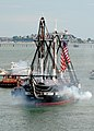 US Navy 100704-N-5647H-389 USS Constitution fires a 21-gun salute toward Fort Independence on Castle Island during the ship's July 4th underway.jpg