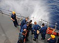 US Navy 110713-N-TB177-115 Sailors conduct hose-handling training aboard the guided-missile destroyer USS Truxtun (DDG 103).jpg