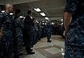 US Navy 110926-N-DR144-111 Vice Adm. Gerald R. Beaman speaks to Sailors during an all-hands call on the mess decks aboard USS Carl Vinson (CVN 70).jpg