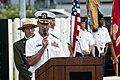 US Navy 111207-N-WX059-093 Capt. Jeffrey James, commander of Joint Base Pearl Harbor-Hickam, speaks during the USS Oklahoma Memorial ceremony.jpg