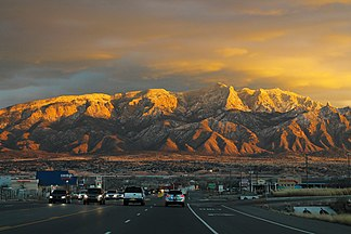 US Route 550 with Sandia Mountains (32133362550).jpg