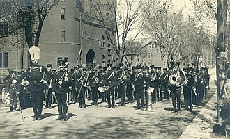 University of Wisconsin Marching Band - Band on Langdon Street in front of the Armory, circa 1910