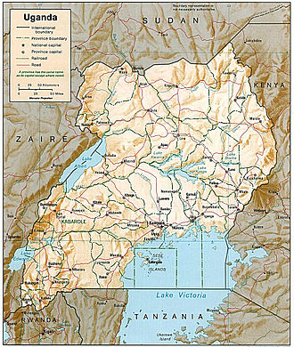 Outline of Uganda - An enlargeable relief map of Uganda