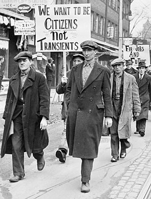 General glut - Unemployed men, marching for jobs during the Great Depression.