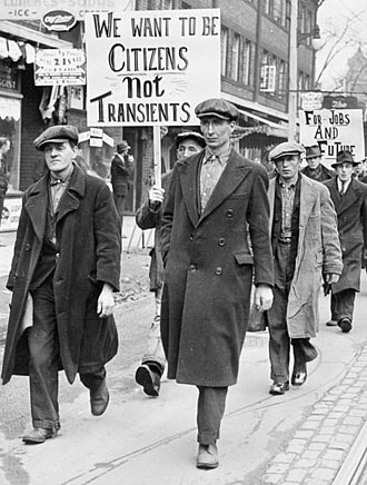 Wall Street Crash of 1929 - Unemployed men march in Toronto