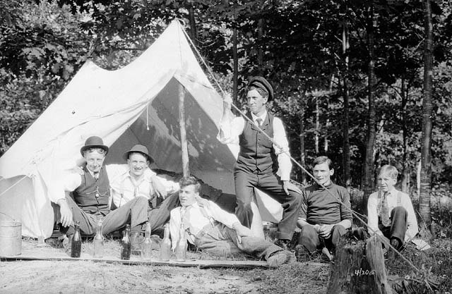 Unidentified group of men camping