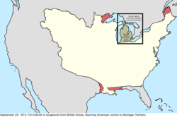 Map of the change to the disputes involving the United States in central North America on September 29, 1813