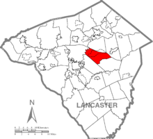 Map of Lancaster County, Pennsylvania highlighting Upper Leacock Township