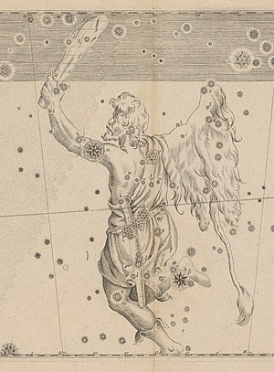 Orion (mythology) - An engraving of Orion from Johann Bayer's Uranometria, 1603 (US Naval Observatory Library)
