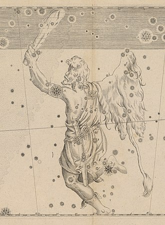 Star lore - Johann Bayer's Uranometria showing the constellation Orion. Orion the Hunter is star lore created by the ancient Greeks.