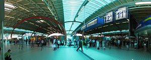 Utrecht Central Station Hall above the trains,...