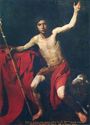 Valentin de Boulogne - Image: Valentin de Boulogne Saint Jean Baptiste, huile sur toile 178 x 133 cm, Saint Jean de Maurienne, cathédrale Saint Jean