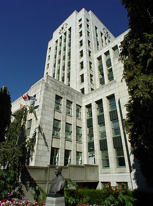 Architecture of Vancouver - An example of Art Deco style of architecture, Vancouver City Hall was completed in 1936.