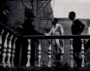 John Eric Greenwood - Loudoun-Shand (Oxford) and JE Greenwood (Cambridge) meeting King George V at the 1919 Varsity match