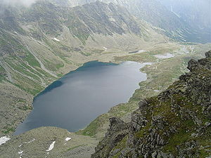 "Geomorphology - Lake ""Veľké Hincovo pleso"" in High Tatras, Slovakia. The lake occupies an ""overdeepening"" carved by flowing ice that once occupied this glacial valley."