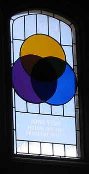 Venn diagram simple english wikipedia the free encyclopedia stained glass window in cambridge where john venn studied it shows a venn diagram ccuart Image collections
