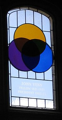 Stained glass window in the dining hall of Caius College, in Cambridge, commemorating John Venn and his invention of the Venn diagram. Venn-stainedglass-gonville-caius.jpg