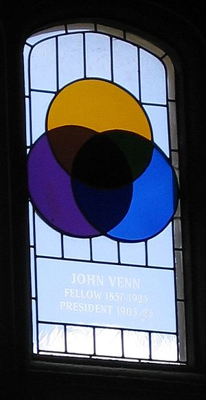 John Venn - Stained glass window at Gonville and Caius College, Cambridge, commemorating Venn and the Venn diagram