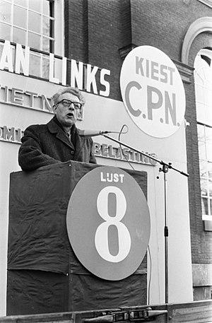 Verkiezingsbijeenkomst van de CPN op het Spui in Amsterdam fractievoorzitter v…, Bestanddeelnr 923-3467.jpg