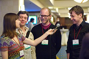 Veronica Belmont - Belmont interviewing representatives of NYU's Interactive Telecommunications Program at Etech 2008.