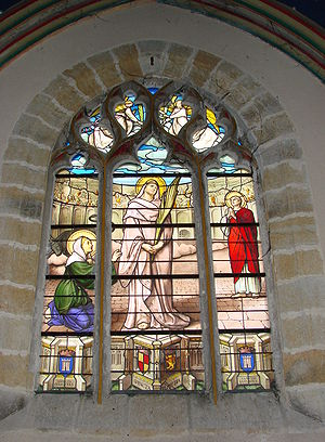 Passion of Saint Perpetua, Saint Felicitas, and their Companions - Stained-glass window of St Perpetua of Carthage (church of Notre-Dame of Vierzon, France, 19th century): martyrdom of St Perpetua and her fellows in the stadium of Carthage; Saint Felicity on her left