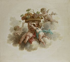 Four Putti Carrying a Fruit Basket