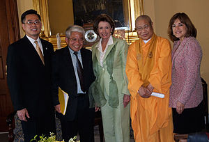 Đỗ Hoàng Điềm - From the left: Do Hoang Diem, Bich Nguyen of the National Congress of Vietnamese Americans, House Speaker Nancy Pelosi, prominent Buddhist leader Thich Giac Duc, and Congresswoman Loretta Sanchez.