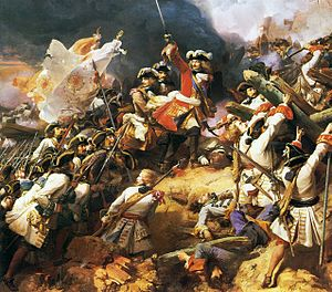 Battle of Denain - Marshal Villars leads the French charge at the  Battle of Denain. Oil on canvas, 1839. (Galerie des Batailles, Palace of Versailles)