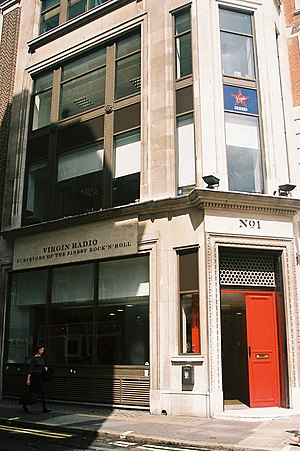 "Absolute Radio -  No 1 Golden Square with ""Virgin Radio"" branding, 1993 – 2008."
