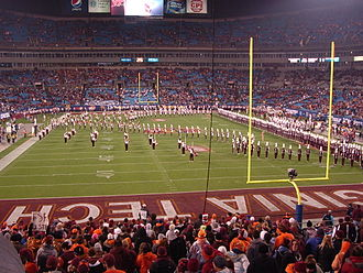 The Marching Virginians - The Marching Virginians make the outline of the Commonwealth of Virginia prior to the 2010 ACC Championship Game.