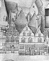 vogelvlucht b.f. van berckenrode detail met huizen aan de kalverstraat - amsterdam - 20014079 - rce
