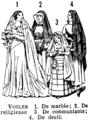 Voiles de mariée, religieuse, communiante, deuil. Veils. Book illustration (encyclopedia plate line art) Larousse du XXème siècle 1932.png