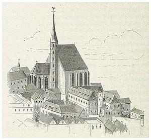 Minoritenkirche - Appearance of the church with spire (from Geschichte der Stadt Wien, by Carl Weiss, 1872)