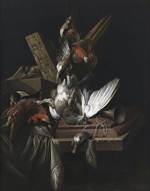 William Gouw Ferguson - Still life with game birds and implements of the chase on a draped stone ledge