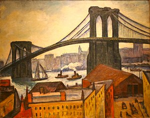 Samuel Halpert - Samuel Halpert - A View of the Brooklyn Bridge - Brooklyn Museum