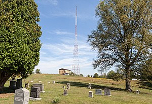 WMMN - Tower on Tower Hill Road,  Fairmont, West Virginia, seen from the adjacent Grove Cemetery