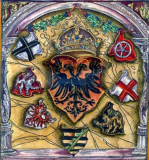Imperial Diet (Holy Roman Empire) - Coats of arms of prince electors surround the Holy Roman Emperor's; from flags book of Jacob Köbel (1545).