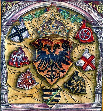 Prince-elector - Coats of arms of prince electors surround the Holy Roman Emperor's; from flags book of Jacob Köbel (1545). Left to right: Cologne, Bohemia, Brandenburg, Saxony, the Palatinate, Trier, Mainz