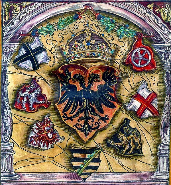 Coats of arms of prince electors surround the imperial coat of arms; from a 1545 armorial. Electors voted in an Imperial Diet for a new Holy Roman Emperor.