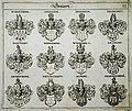 Wappen der Grafen von Werdenberg, Sponheim, Feldkirch, Montfort, Hohenberg, Weinsberg, Tettnang, Herrenberg, Trichtingen, Asperg und Pfannenberg im Siebmacher Wappenbuch, um 1720.JPG