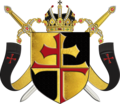 Wappen des Ordens der Kreuzherren und Wächter des Heiligen Grabes zu Jerusalem mit dem doppelten roten Kreuz (2017).png