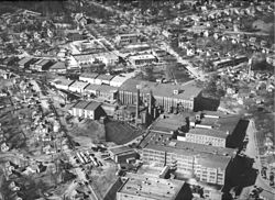 A bird's eye view of the mill in the 1950s. Katherine Hall is seen just behind the mill.