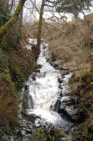 Waterfall at the top of the Gairie Burn, Kirri...