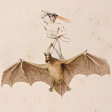 Cricketer riding a giant bat