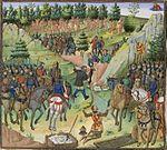 """Orang-orang """"Gog dan Magog"""" dikurung dengan sebuah tembok oleh pasukan Aleksander.—Buku Aleksander karya Jean Wauquelin. Bruges, Belgia, abad ke-15."""
